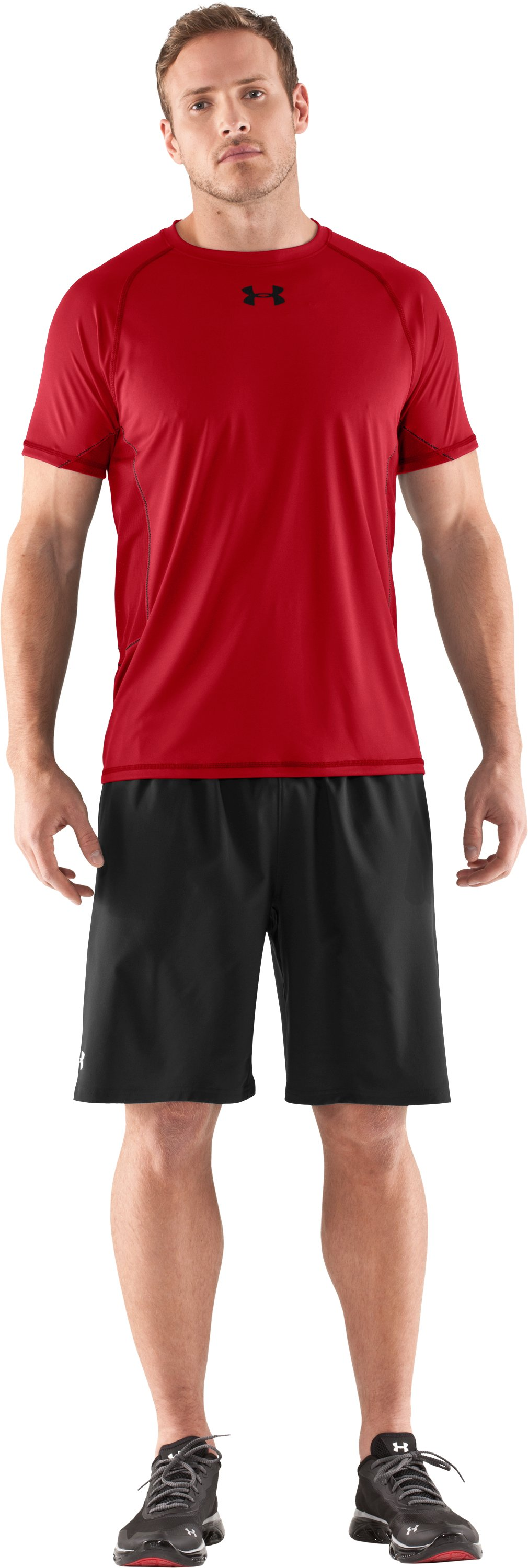 Men's HeatGear® Flyweight Short Sleeve, Red, Front