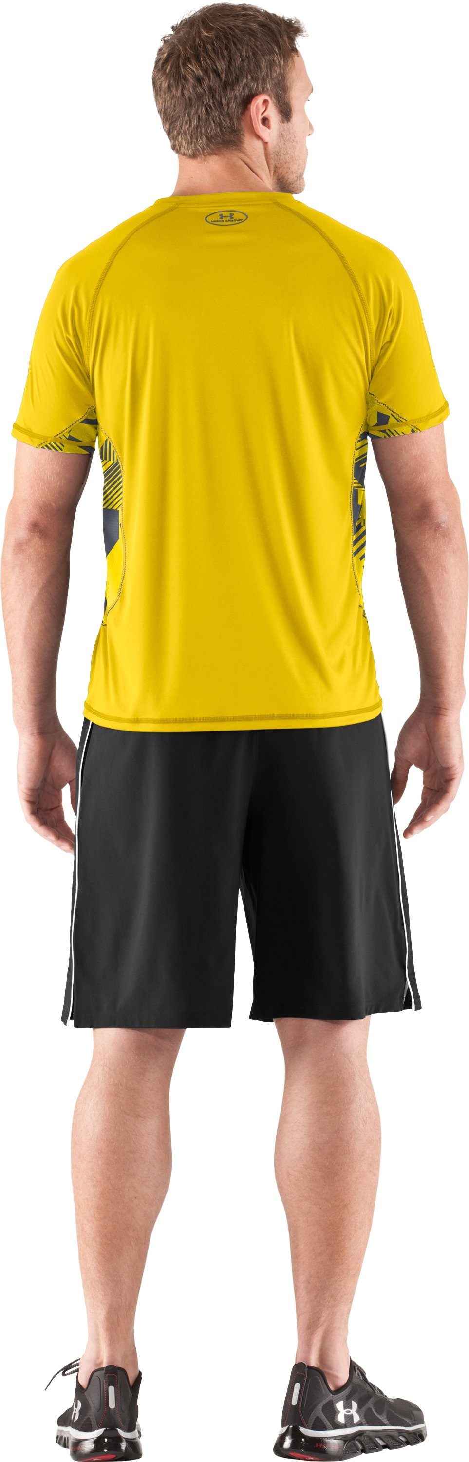 Men's HeatGear® Flyweight Short Sleeve, Taxi, Back