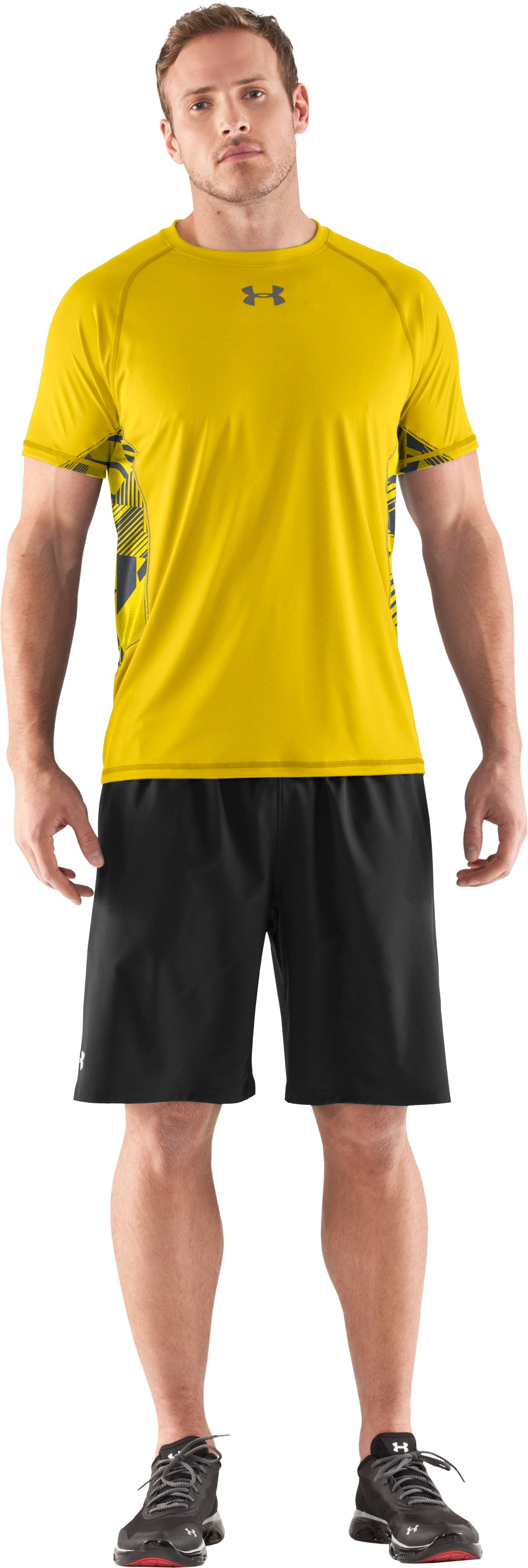 Men's HeatGear® Flyweight Short Sleeve, Taxi, Front