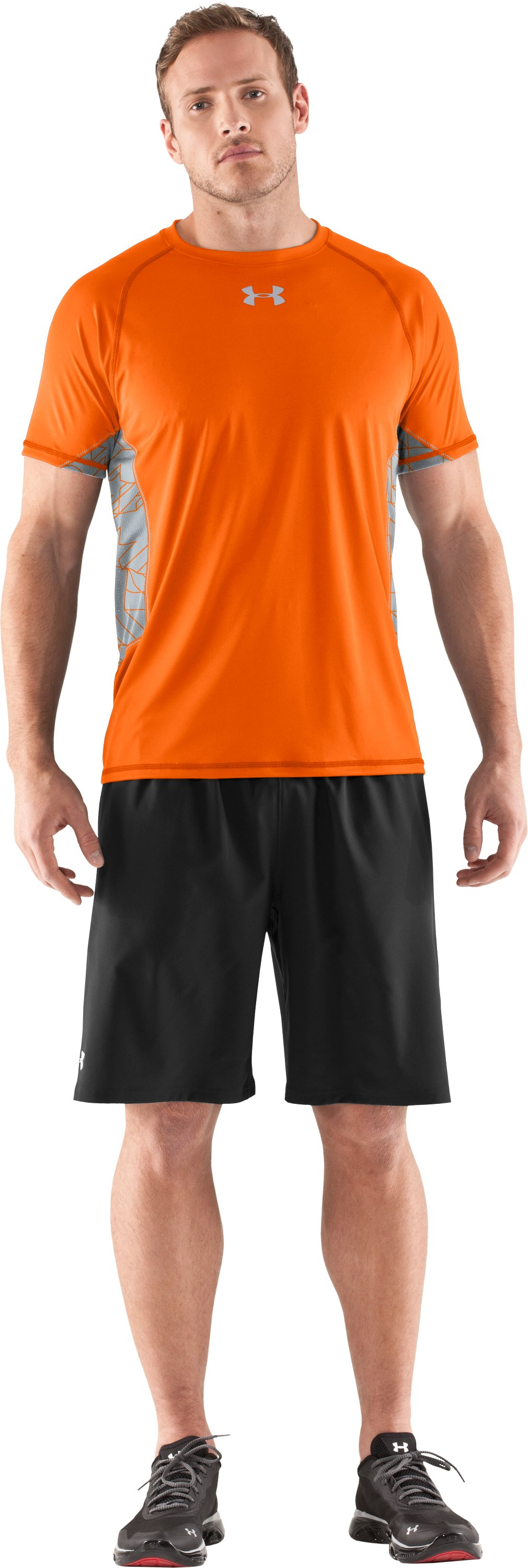 Men's HeatGear® Flyweight Short Sleeve, Vivid, zoomed image
