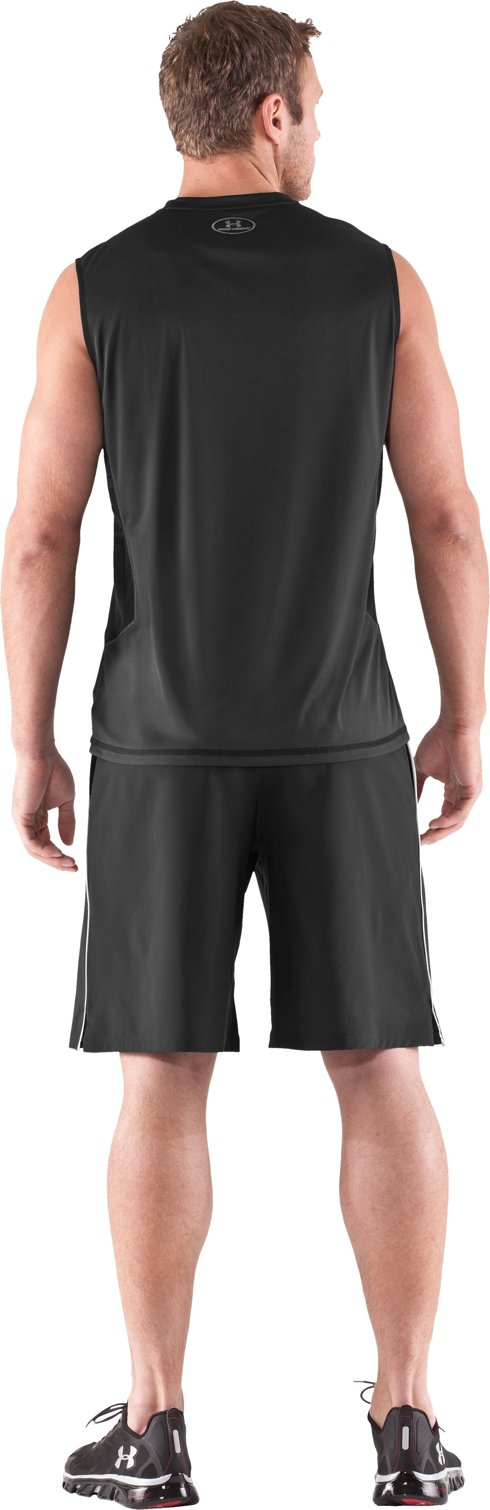 Men's HeatGear® Flyweight Sleeveless, Black , Back