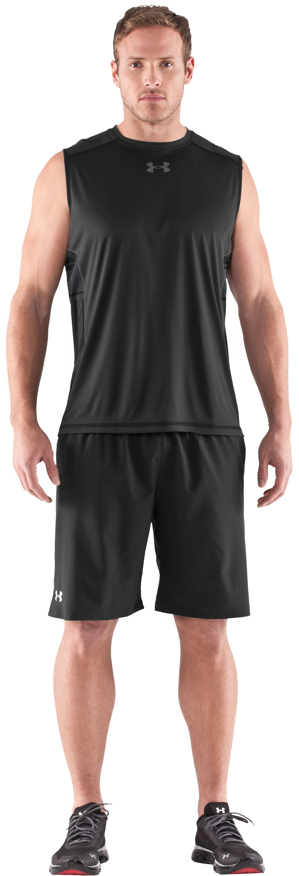 Men's HeatGear® Flyweight Sleeveless, Black , Front