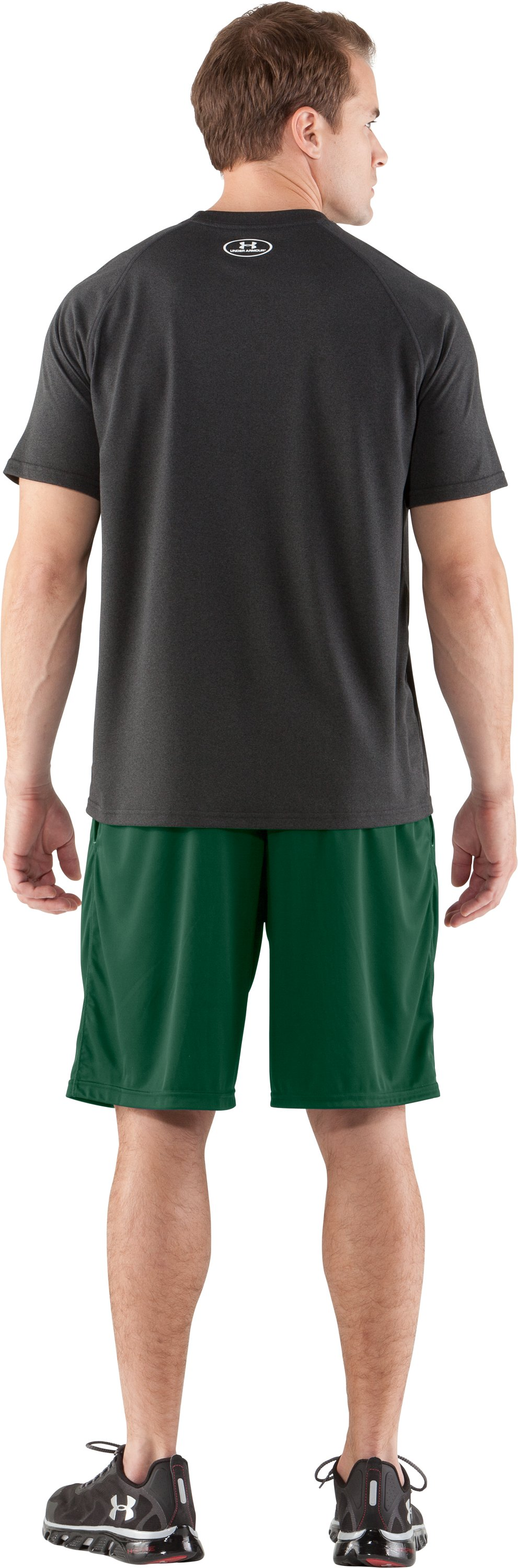 Men's UA Micro Solid Shorts, Forest Green, Back
