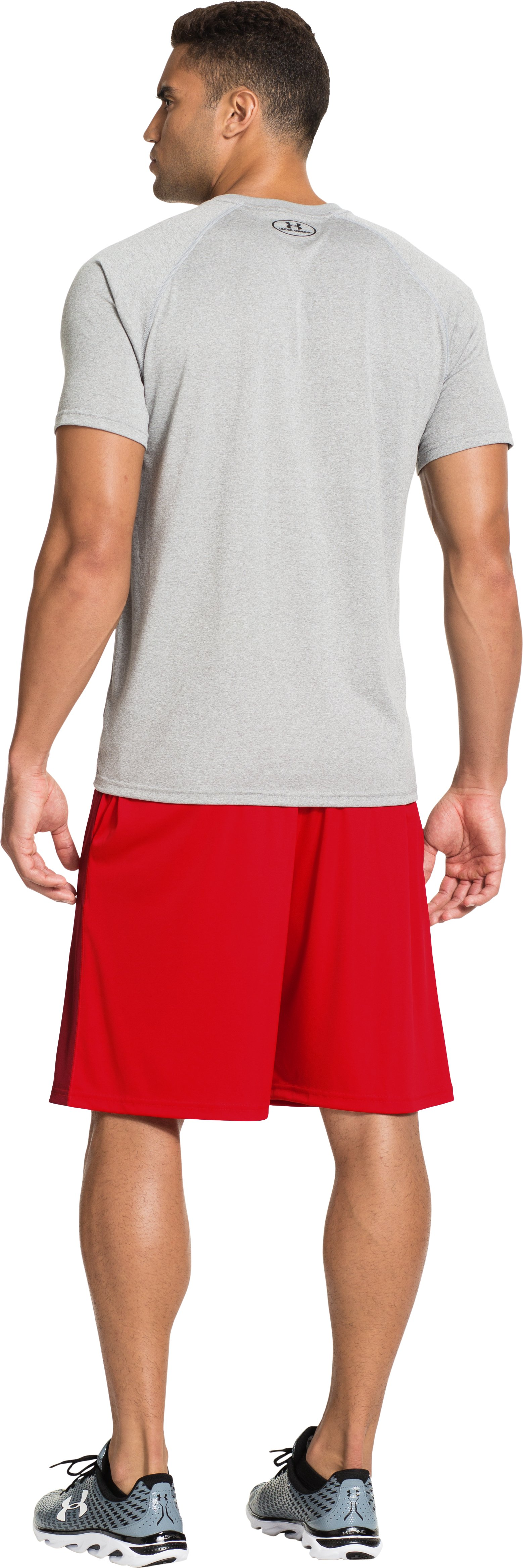 Men's UA Micro Printed Shorts, RISK RED, Back