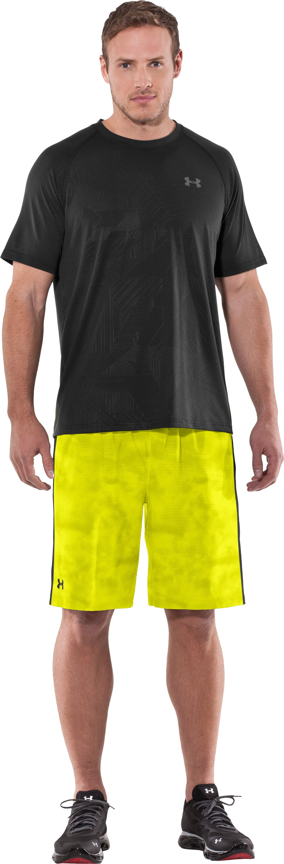 Men's UA Micro Printed Shorts, High-Vis Yellow, Front