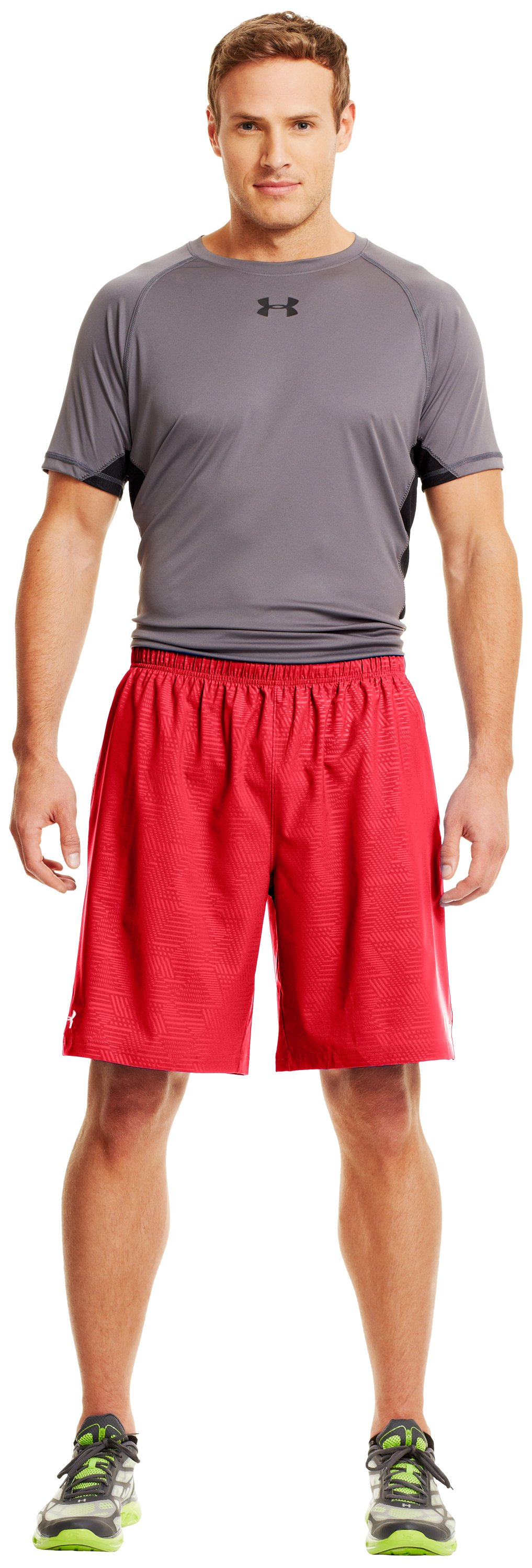 "Men's UA Mirage Printed 10"" Shorts, Red, Front"