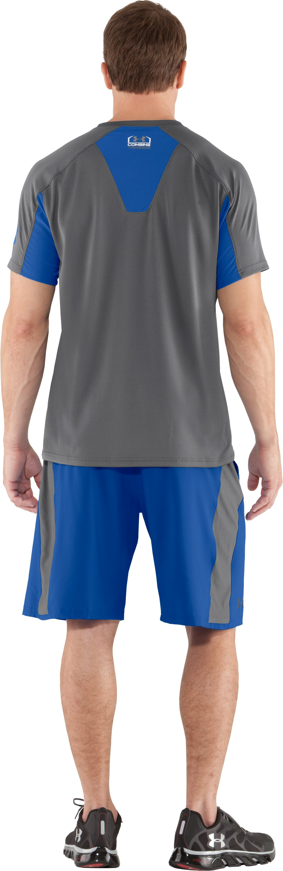 Men's UA Combine® Training Velocity Short Sleeve, Graphite, Back