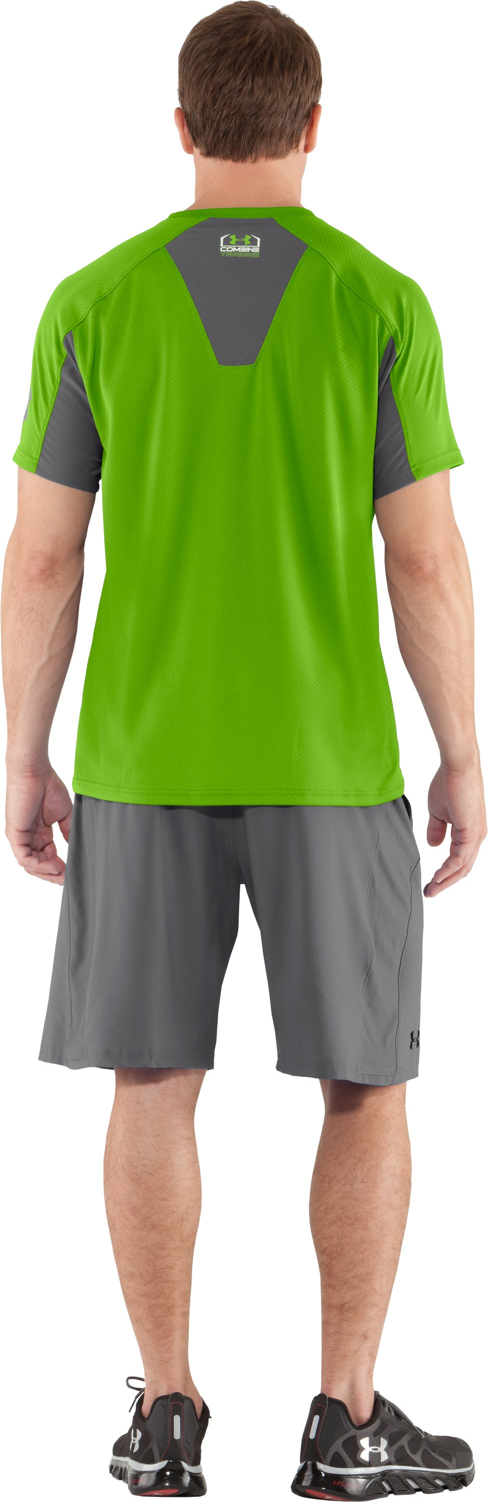 Men's UA Combine® Training Velocity Short Sleeve, Poison, Back