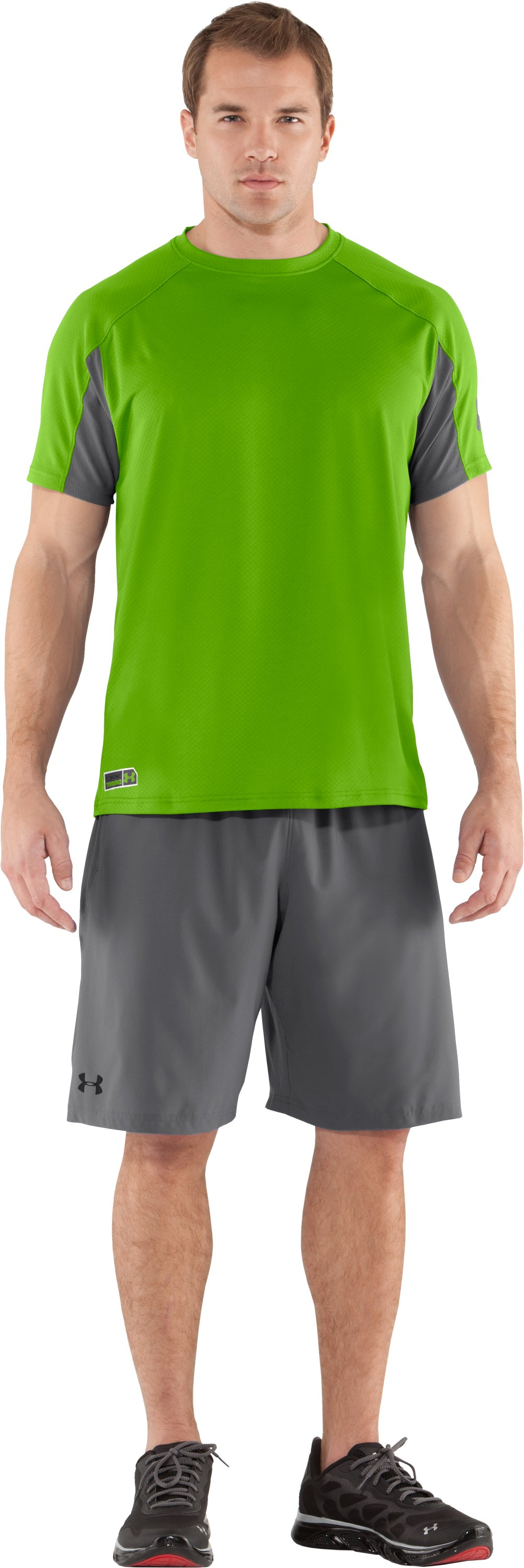 Men's UA Combine® Training Velocity Short Sleeve, Poison, Front