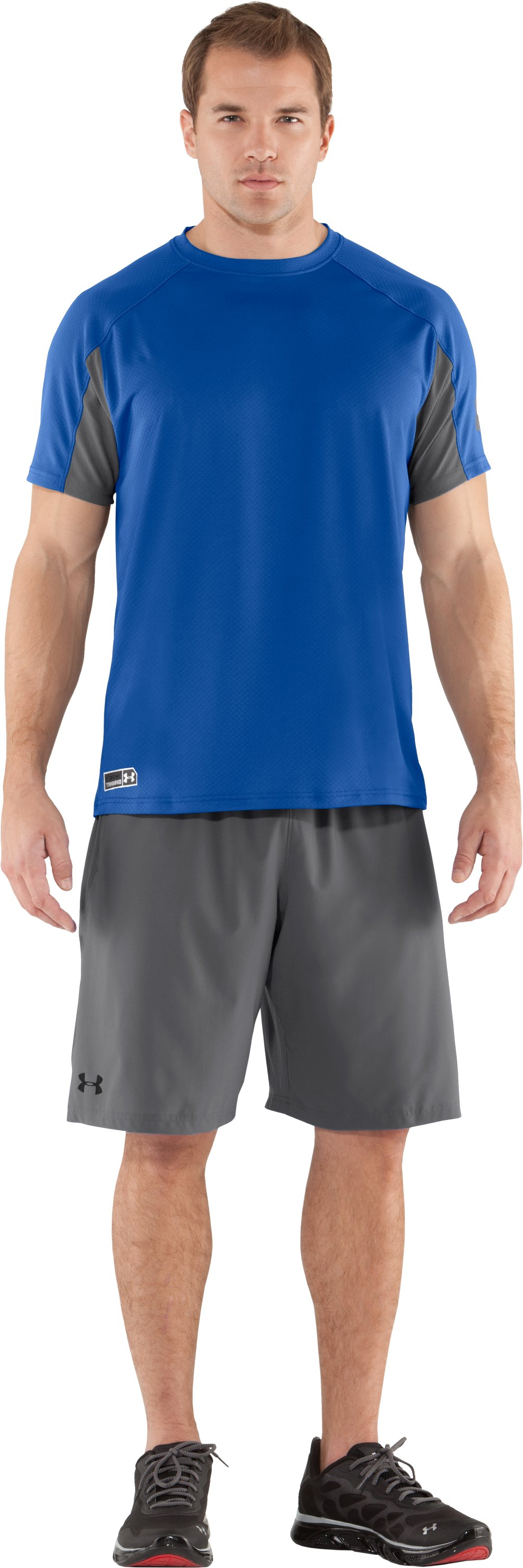 Men's UA Combine® Training Velocity Short Sleeve, Moon Shadow, Front