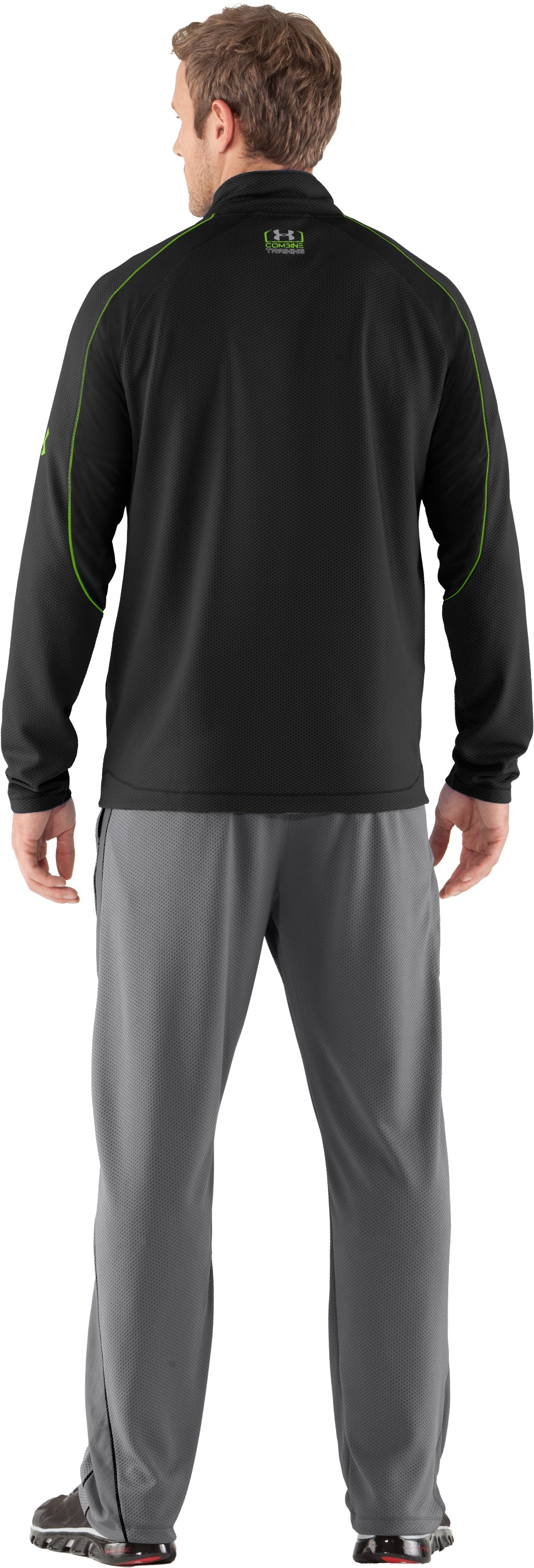 Men's UA Combine® Training Velocity Warm-Up ¼ Zip, Black , Back
