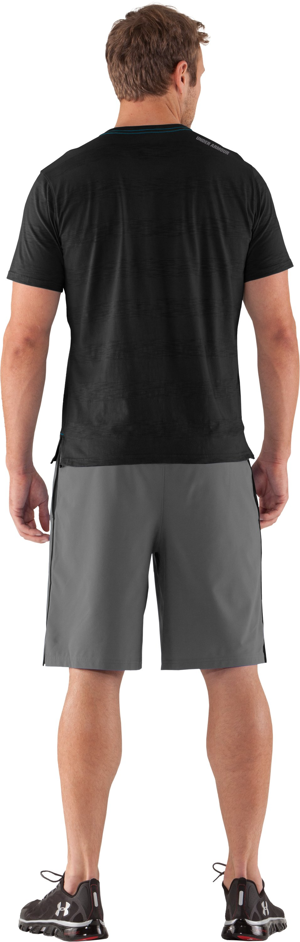 Men's UA Slub Stripe T-Shirt, Black , Back