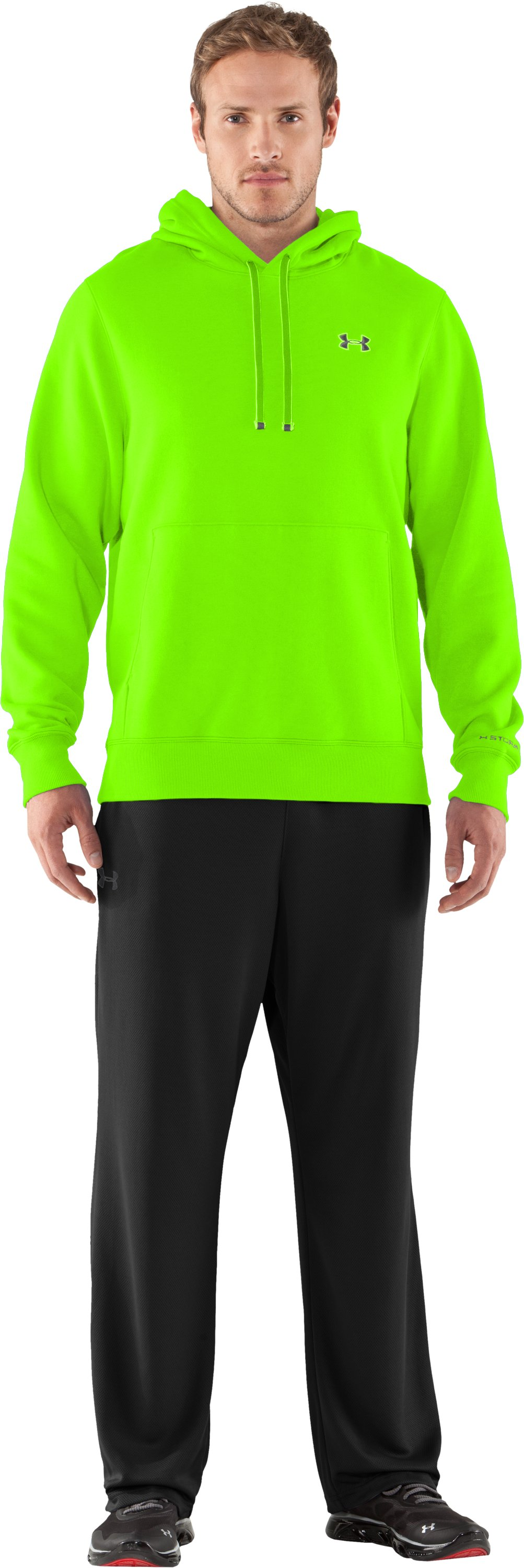 Men's Charged Cotton® Storm Transit Hoodie, HYPER GREEN, Front