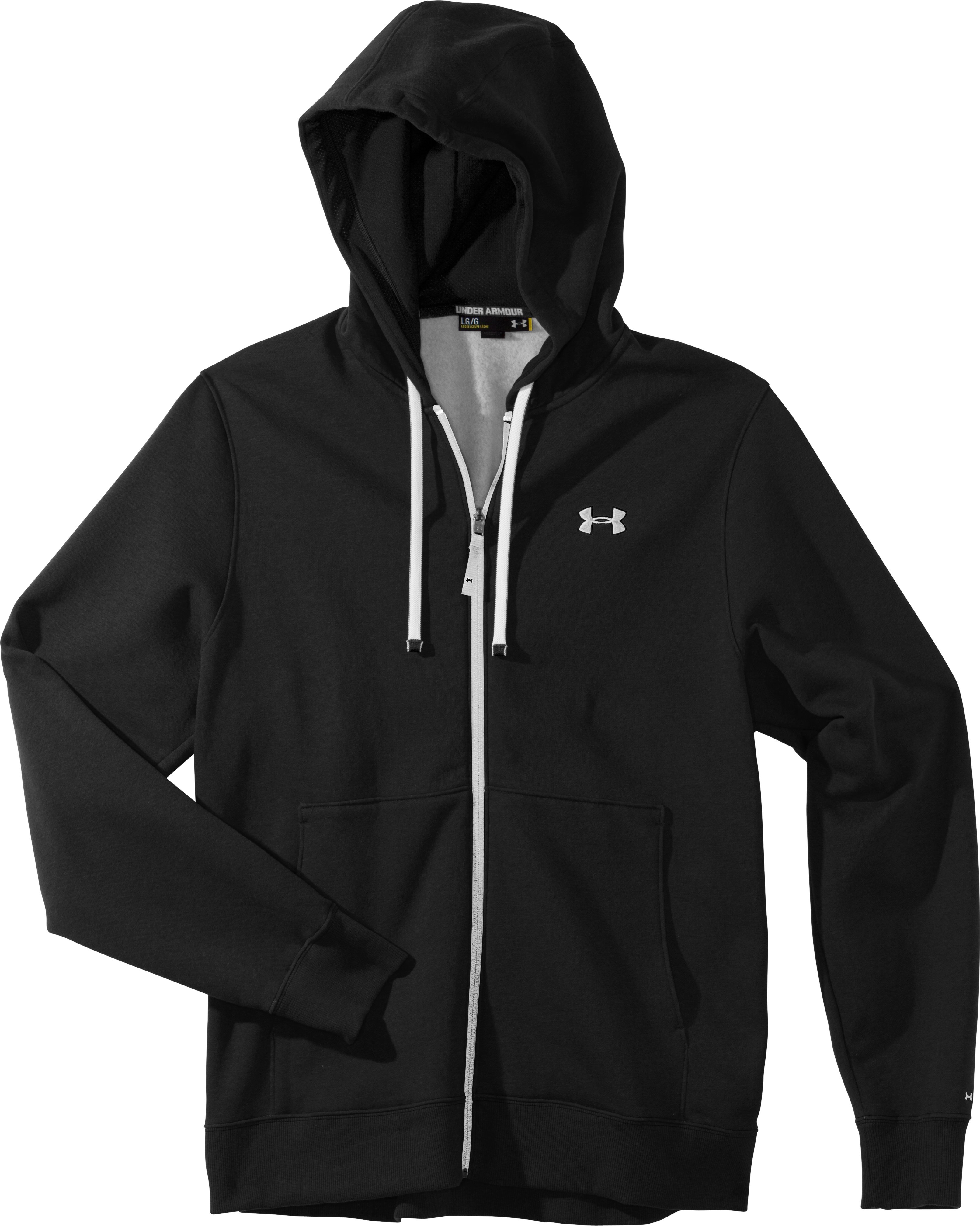 Men's Charged Cotton® Storm Transit Full-Zip Hoodie, Black , Laydown