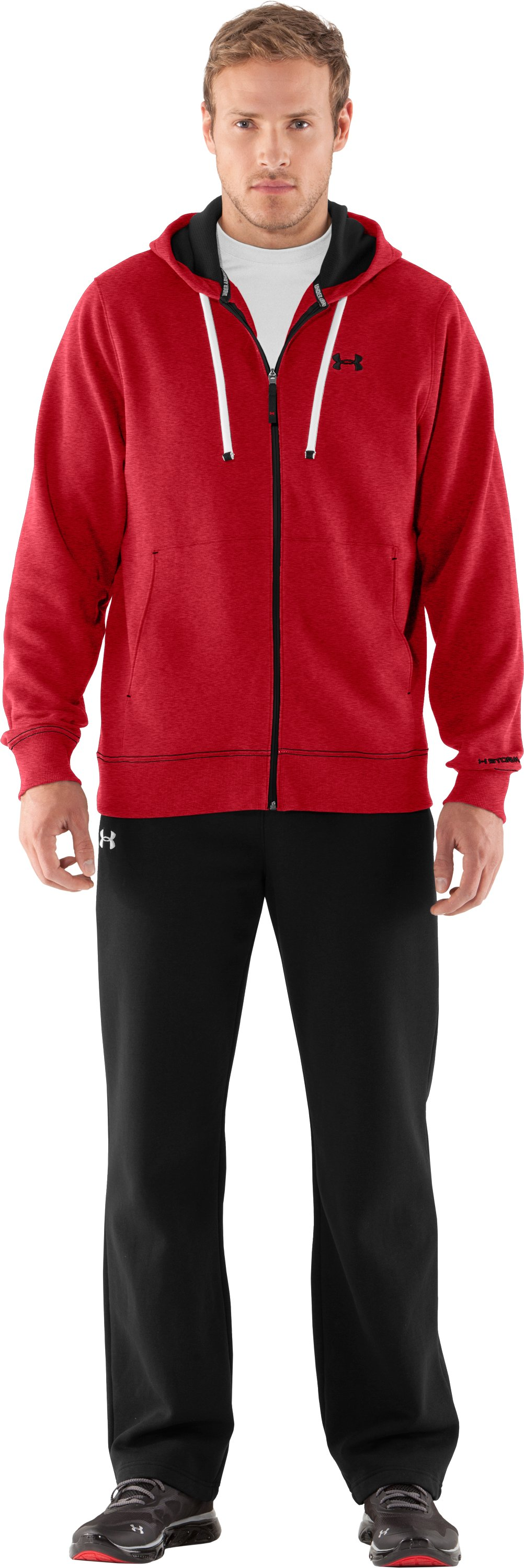 Men's Charged Cotton® Storm Transit Full-Zip Hoodie, Red, zoomed image