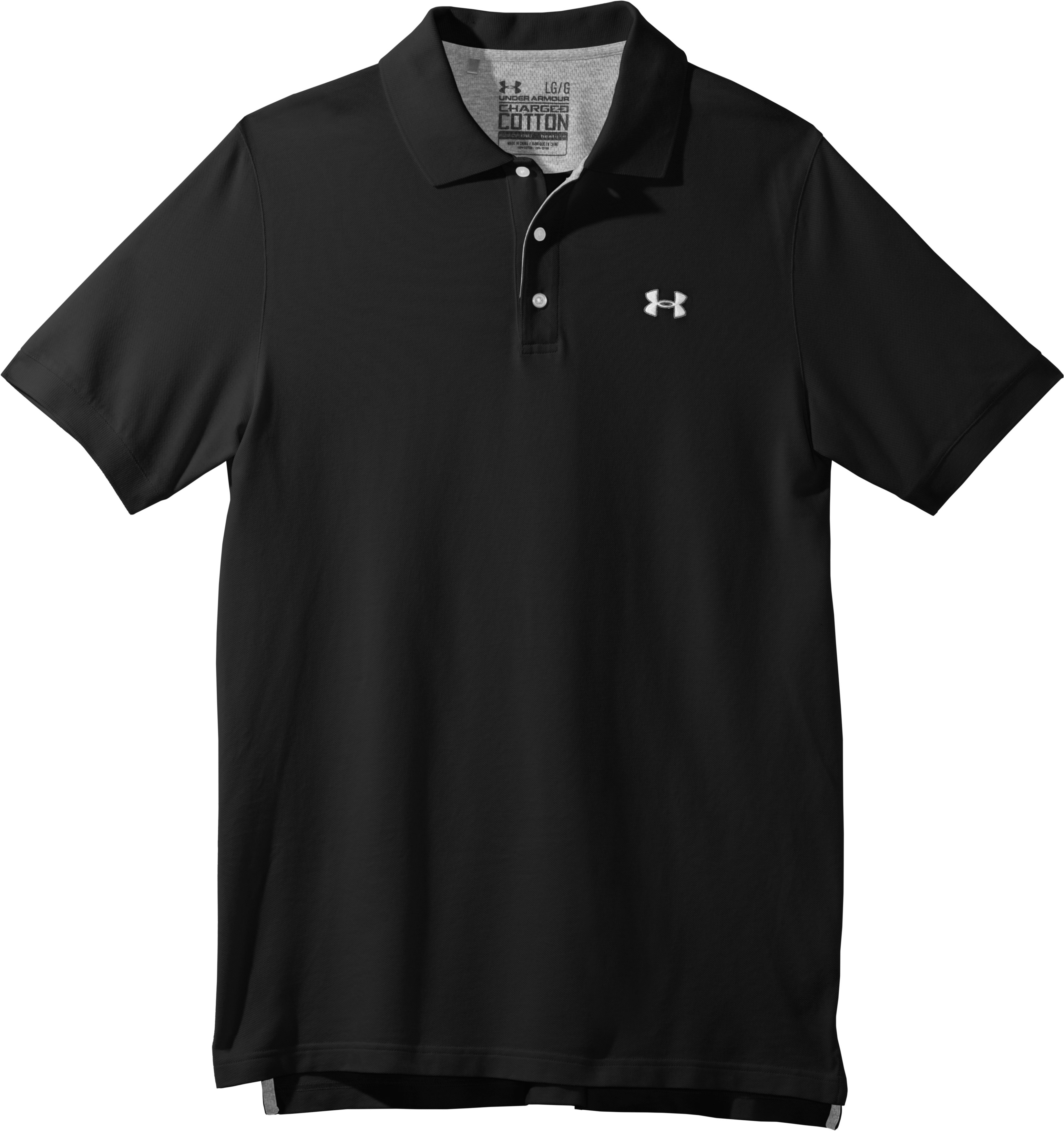 Men's Charged Cotton® Pique Polo, Black , Laydown
