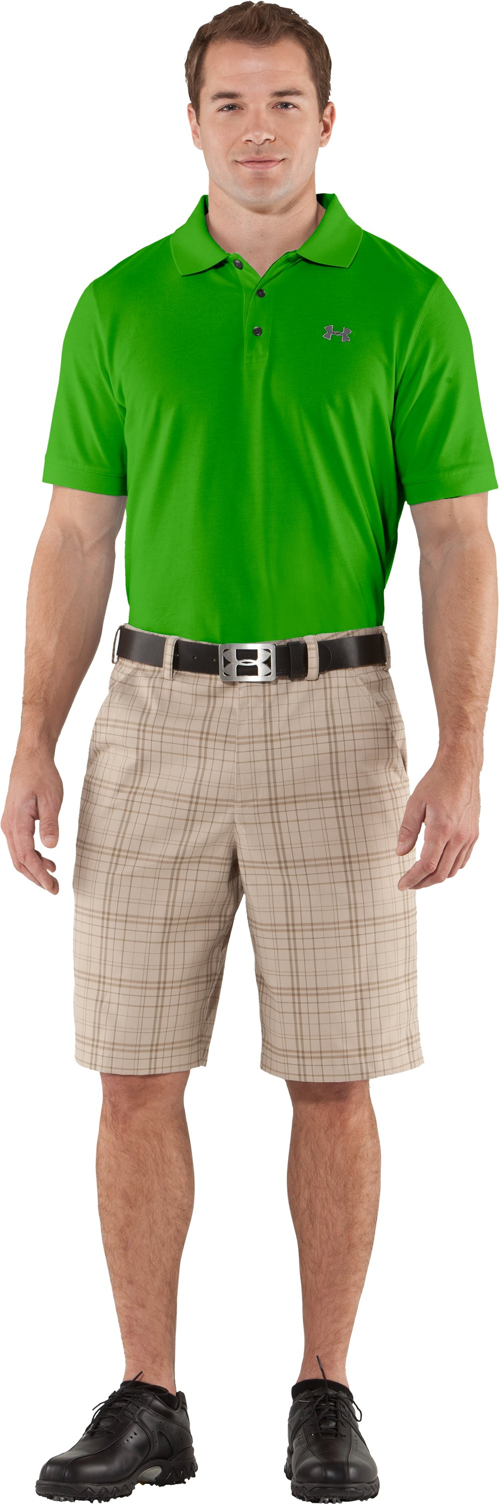 Men's Charged Cotton® Pique Polo, PARROT GREEN, Front