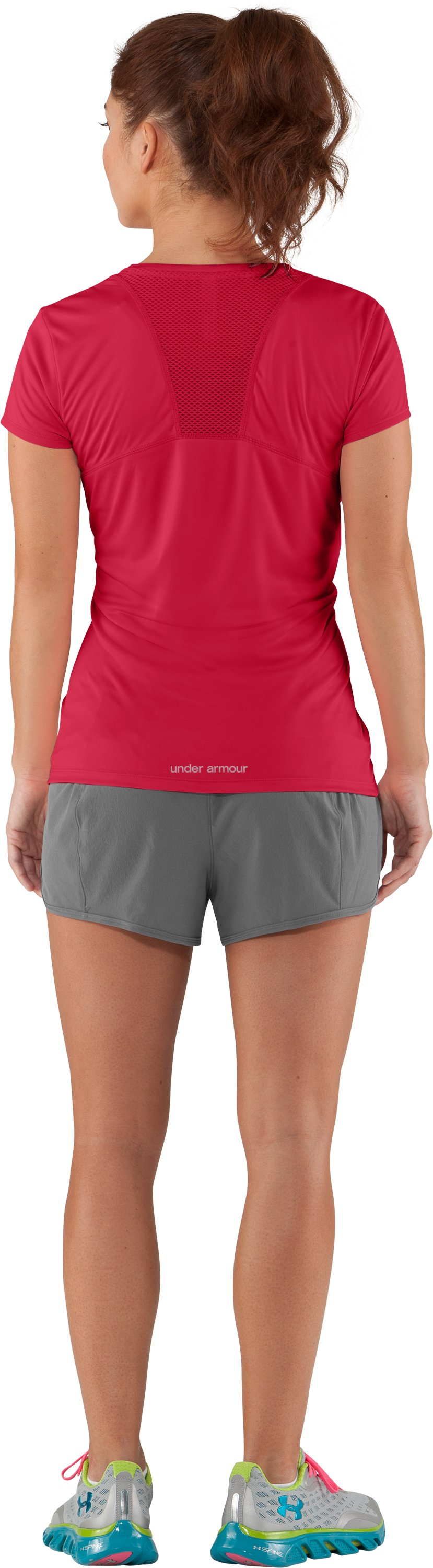 Women's UA Flyweight T-Shirt, Hibiscus, Back
