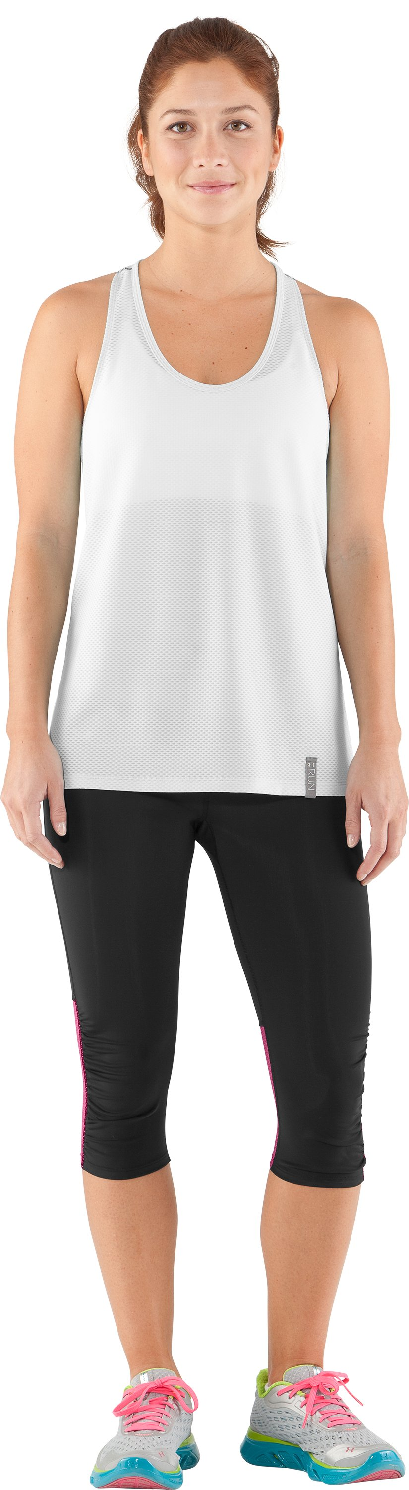 Women's UA Fly-By Compression Capri, Black , Front