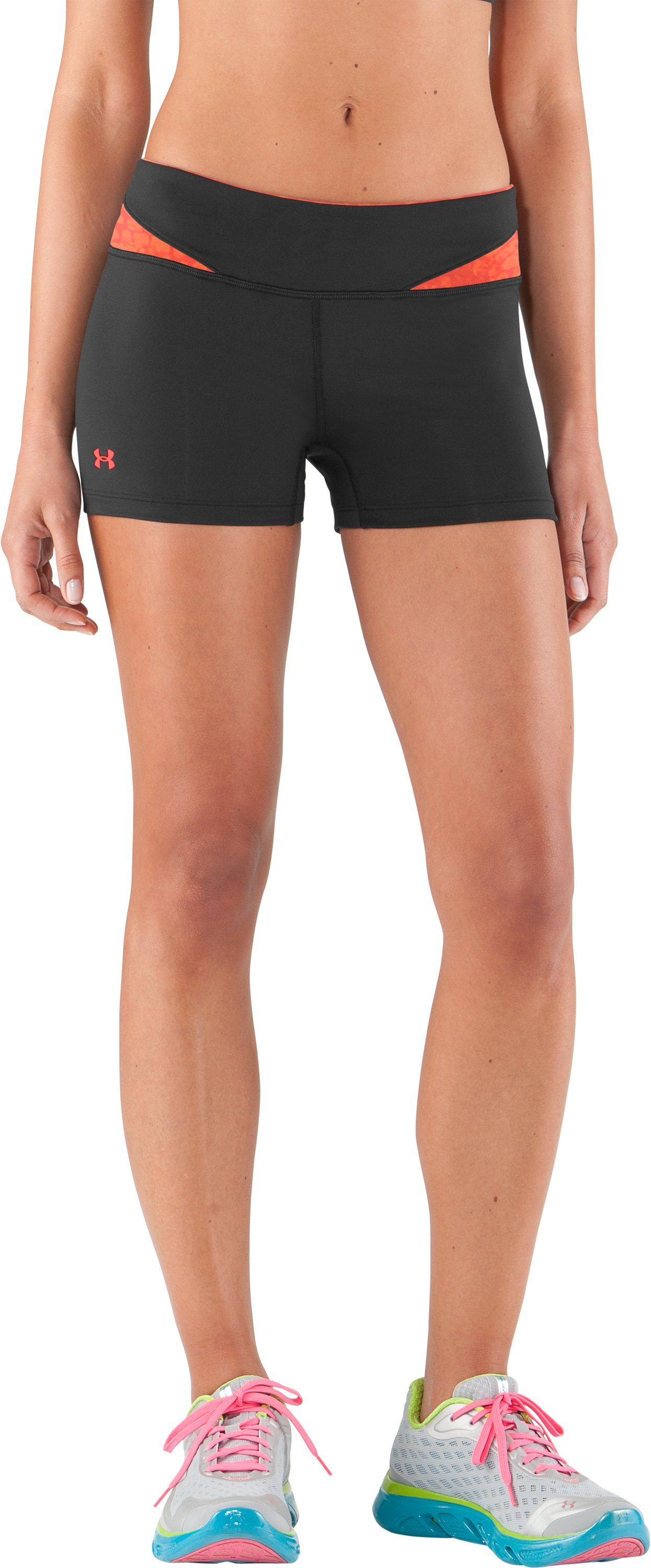 Women's HeatGear® Sonic All-In-One Shorts, Black , zoomed image