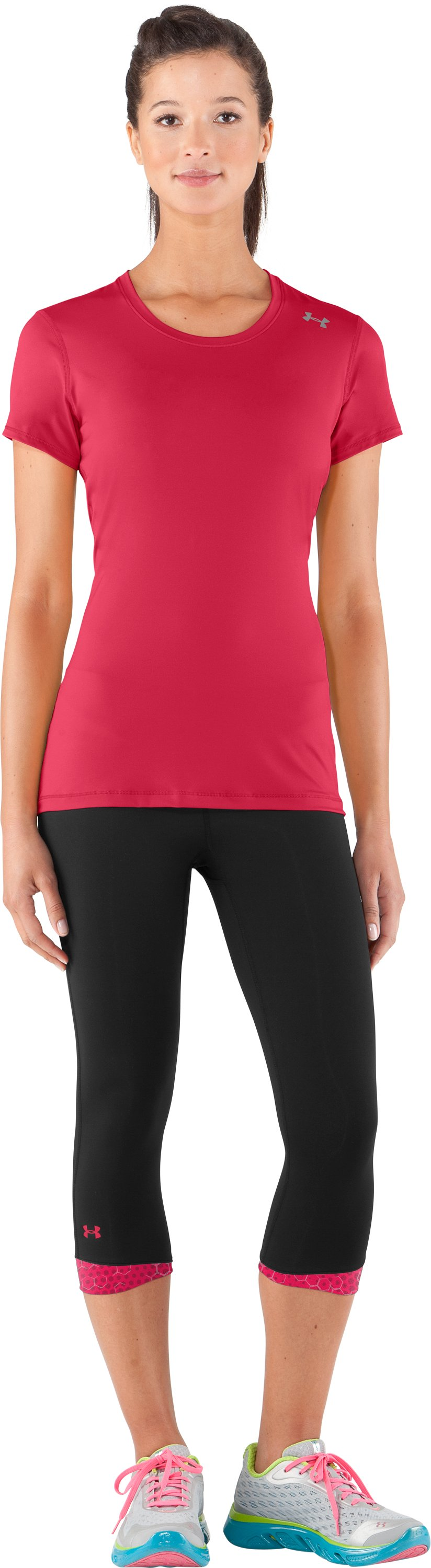 Women's HeatGear® Sonic All-In-One Capri test, Black , Front