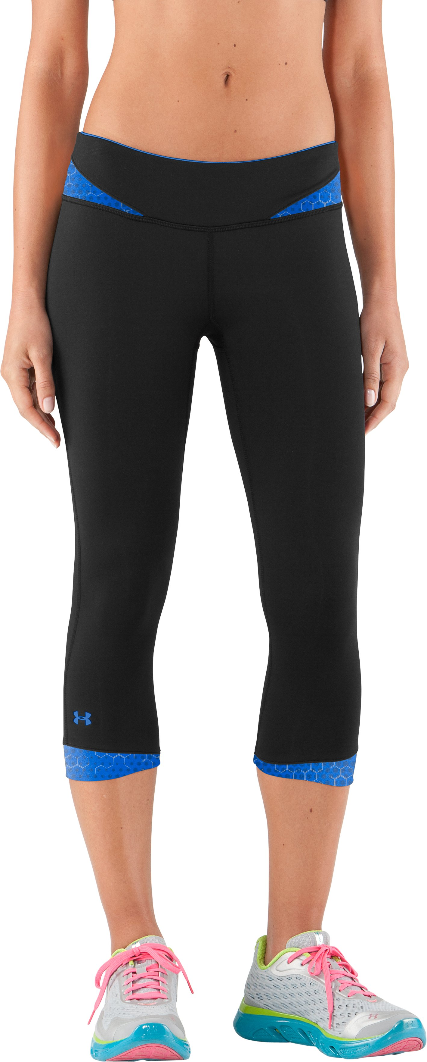 Women's HeatGear® Sonic All-In-One Capri test, Black , zoomed image