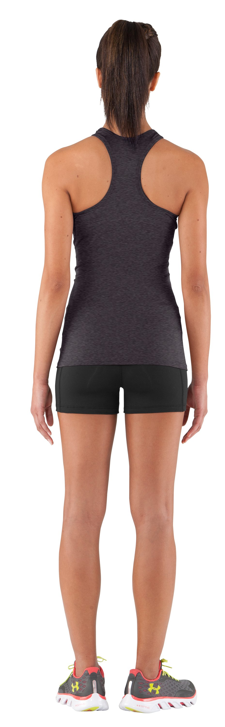 Women's HeatGear® Sonic Tank, Carbon Heather, Back