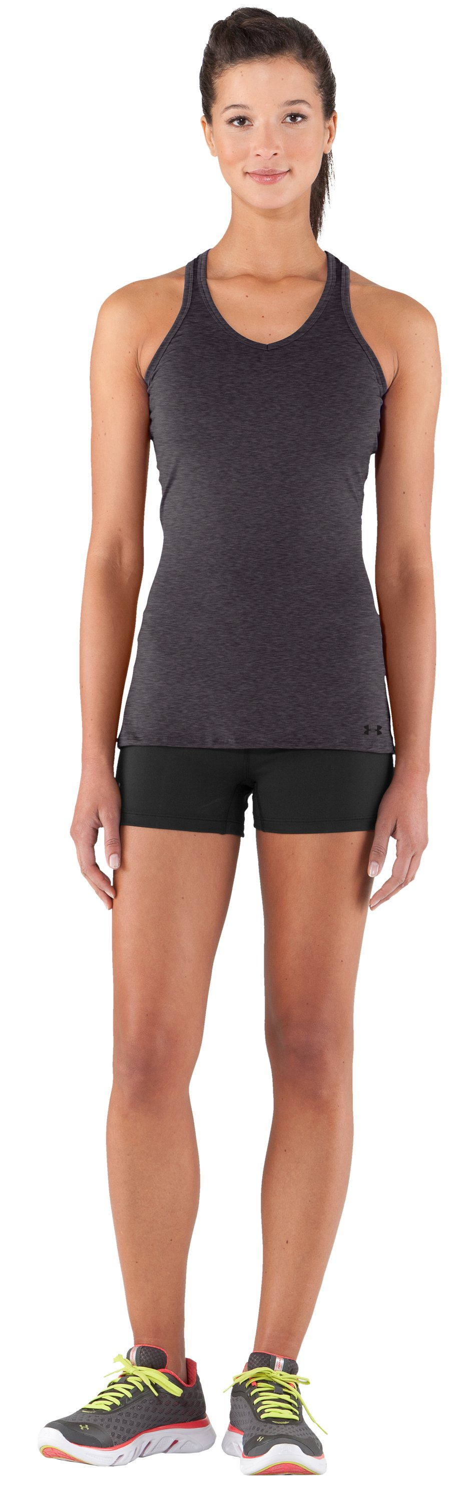 Women's HeatGear® Sonic Tank, Carbon Heather, Front