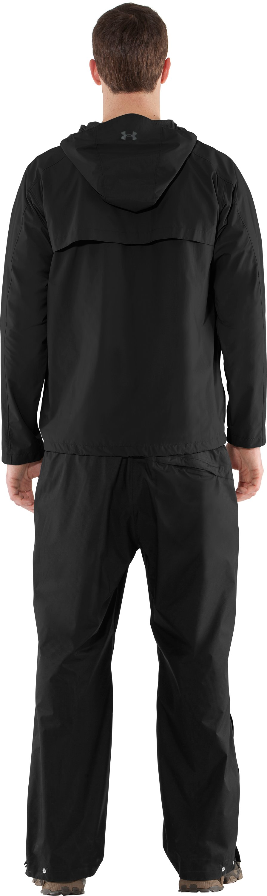 Men's UA Maelstrom Rain Jacket, Black , Back