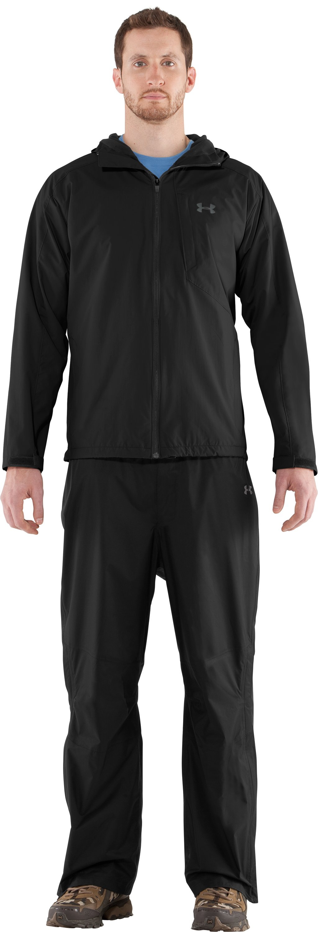 Men's UA Maelstrom Rain Jacket, Black , Front
