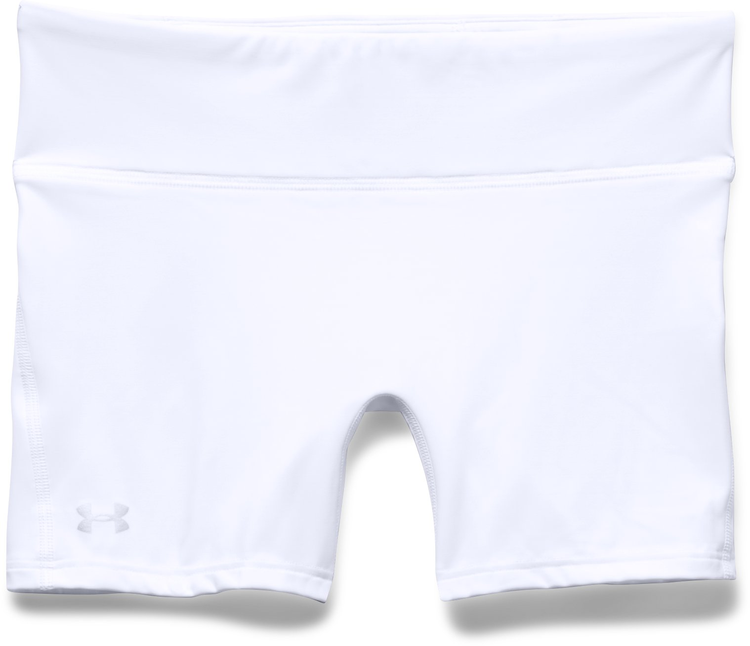 "Women's UA Authentic 4"" Compression Shorts, White, Laydown"