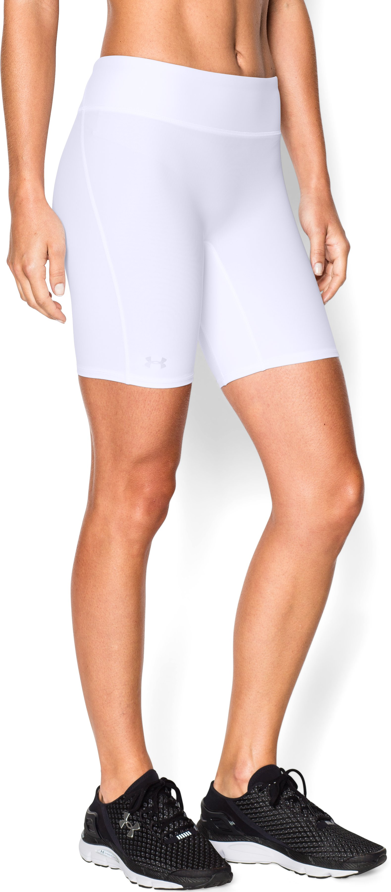 "Women's UA Authentic 7"" Compression Shorts, White, zoomed image"