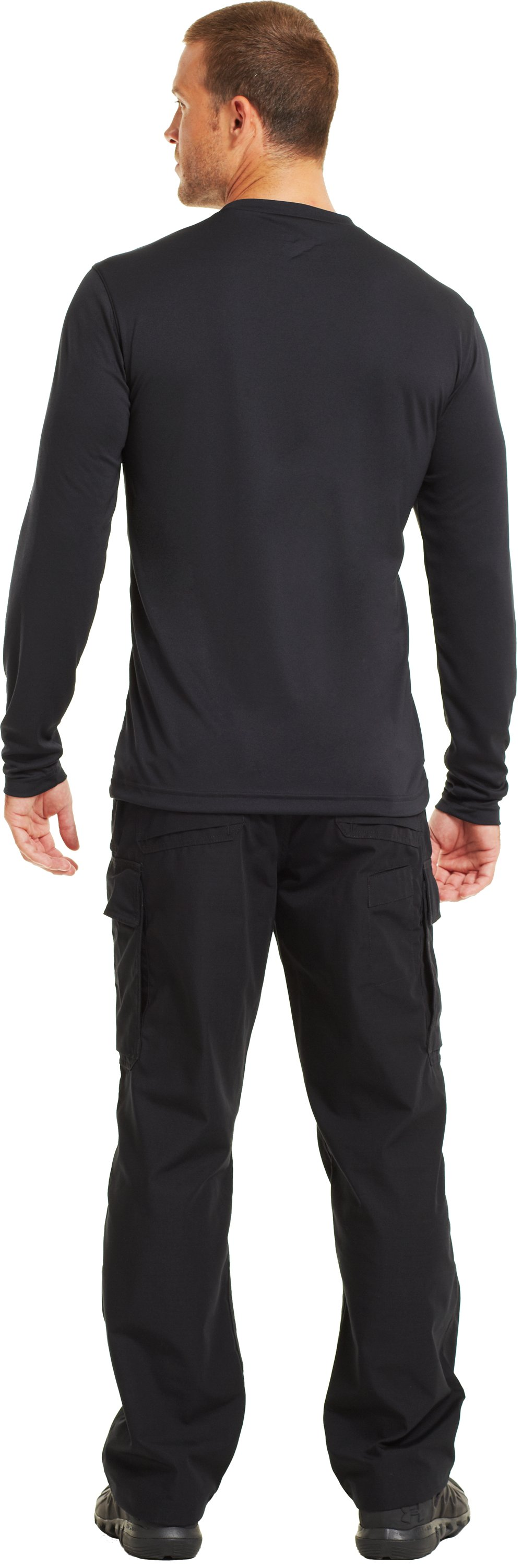 Men's HeatGear® Tactical Long Sleeve T-Shirt, Black , Back