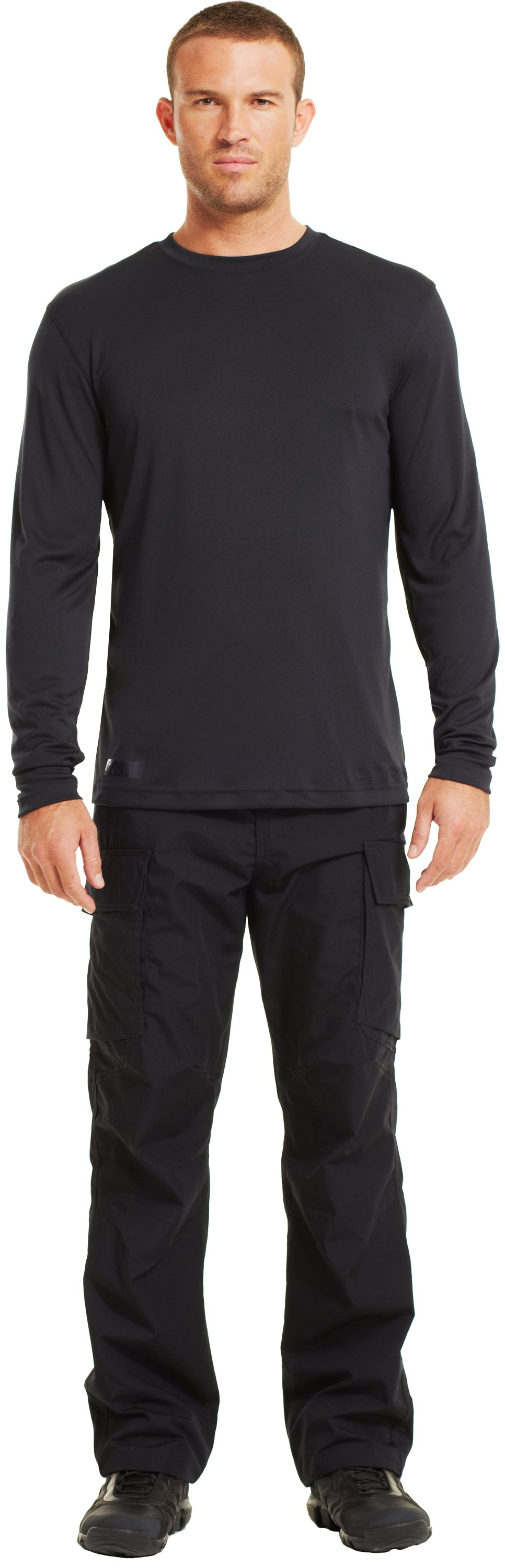 Men's HeatGear® Tactical Long Sleeve T-Shirt, Black , Front