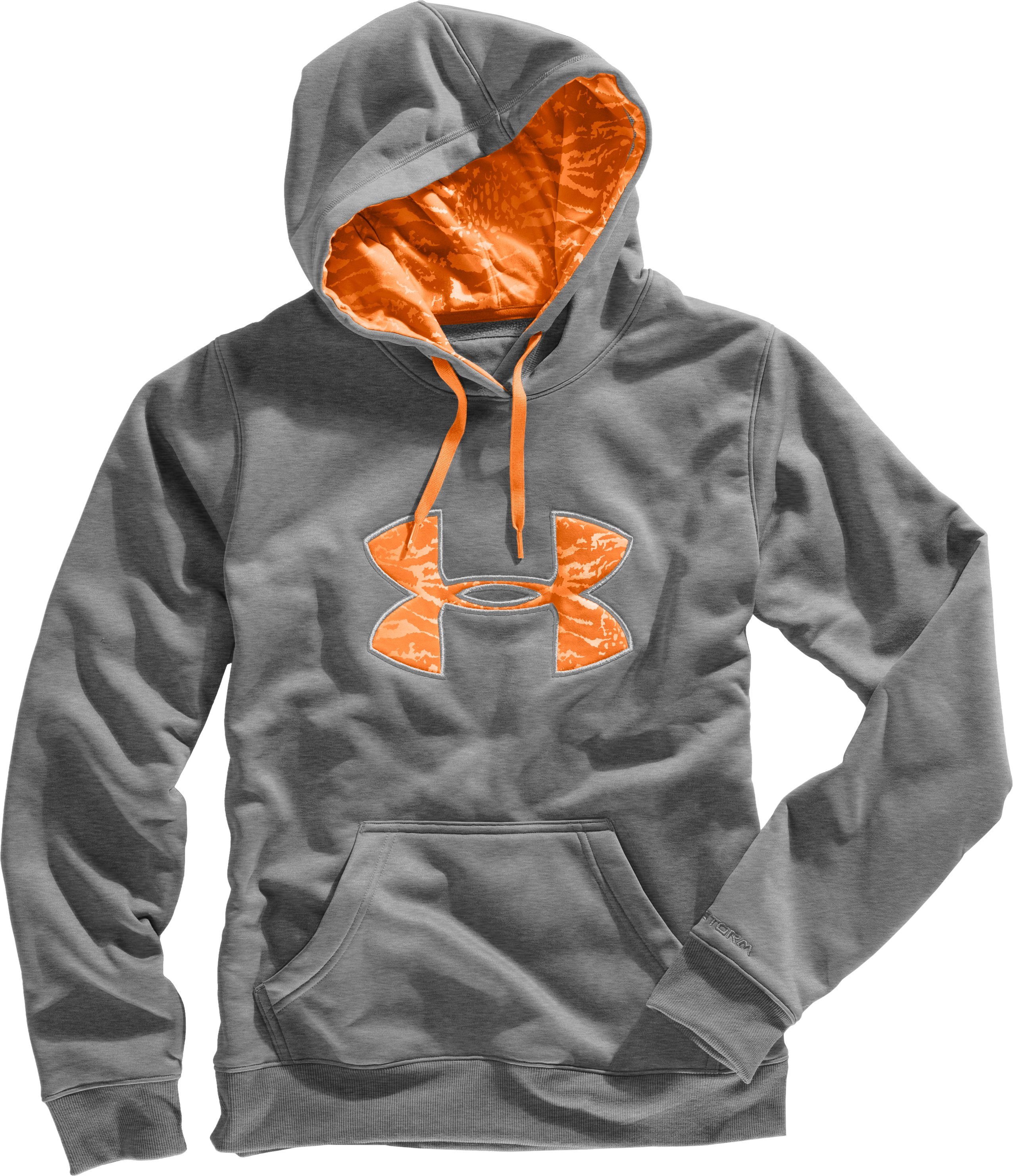 Women's Armour® Fleece Storm Printed Big Logo Hoodie, True Gray Heather, Laydown