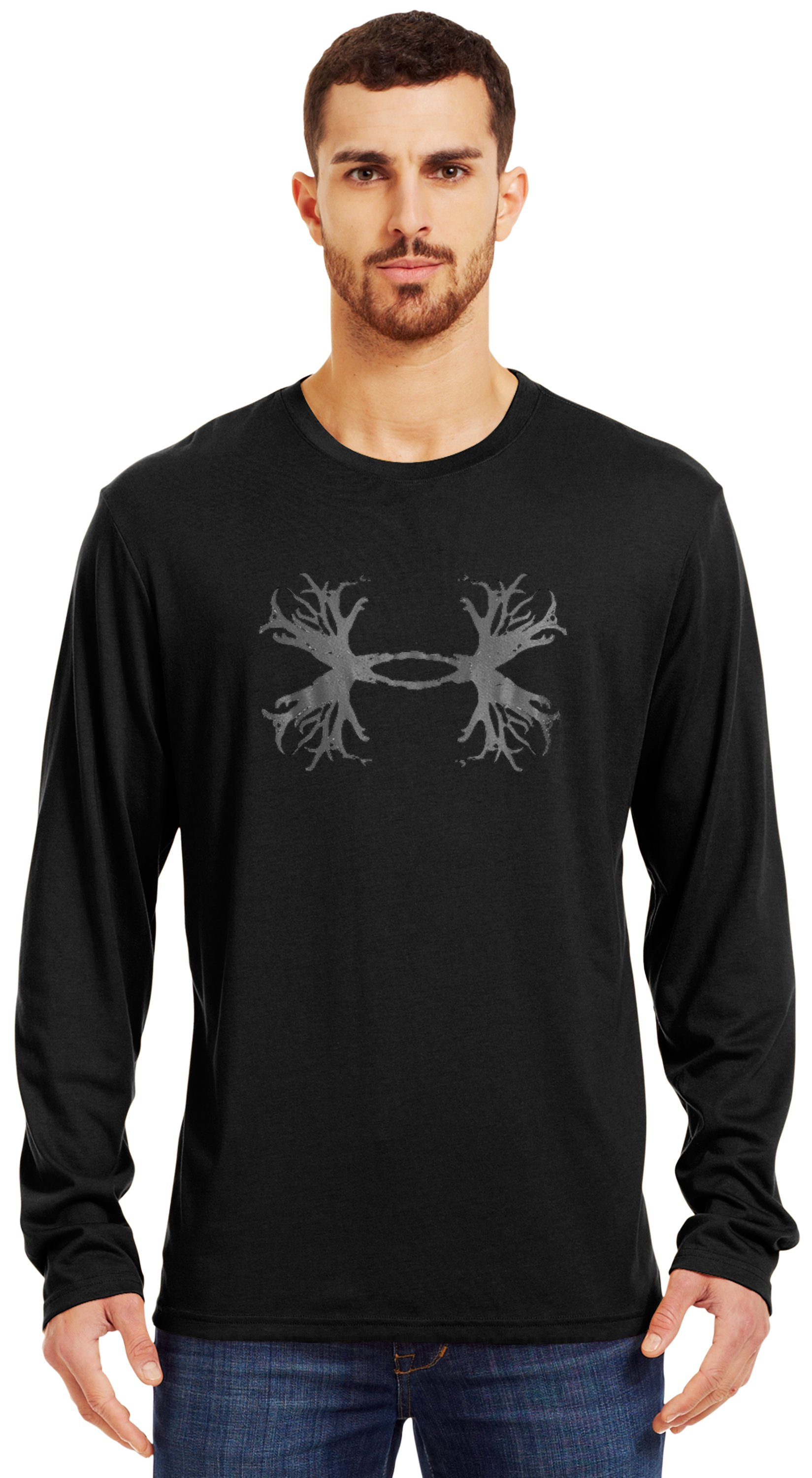 Men's UA Antler Long Sleeve T-Shirt, Black , Front