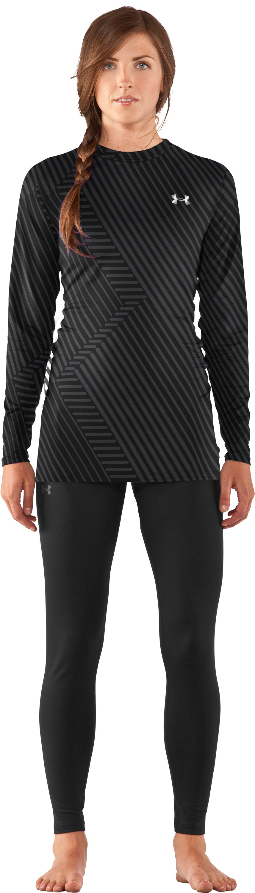 Women's UA ColdGear® Printed Fitted Long Sleeve, Black , Front