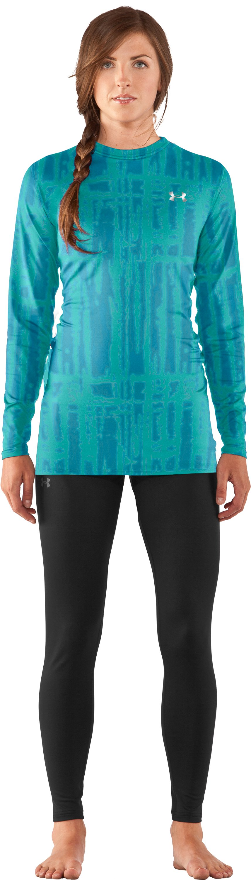 Women's UA ColdGear® Printed Fitted Long Sleeve, Break, Front