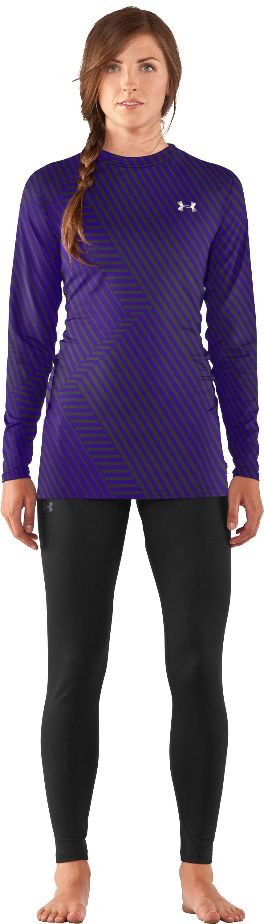 Women's UA ColdGear® Printed Fitted Long Sleeve, Pluto, Front