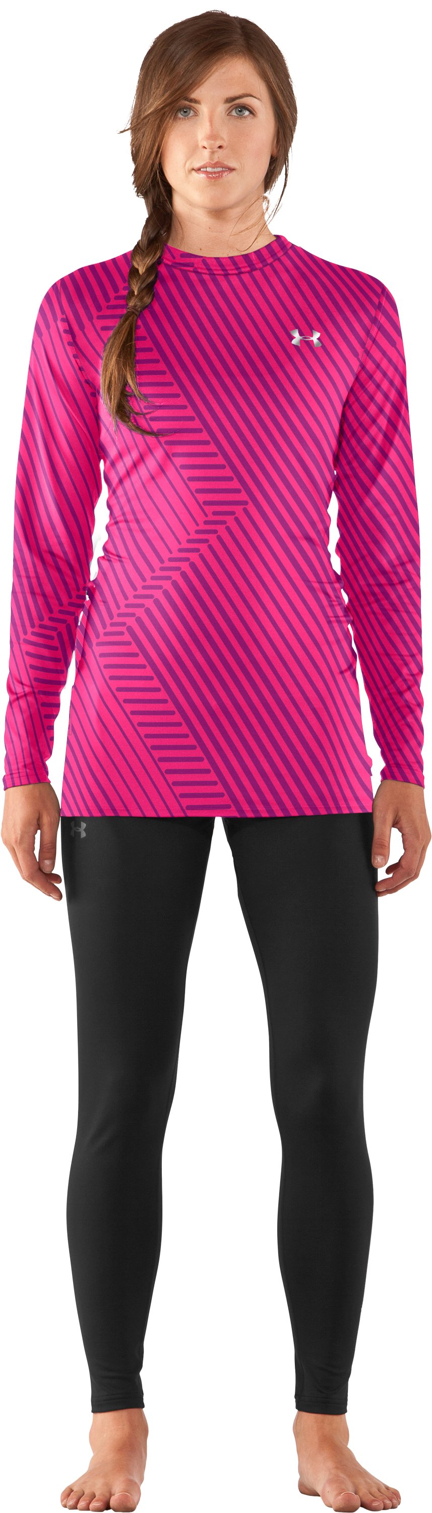 Women's UA ColdGear® Printed Fitted Long Sleeve, Cerise, Front