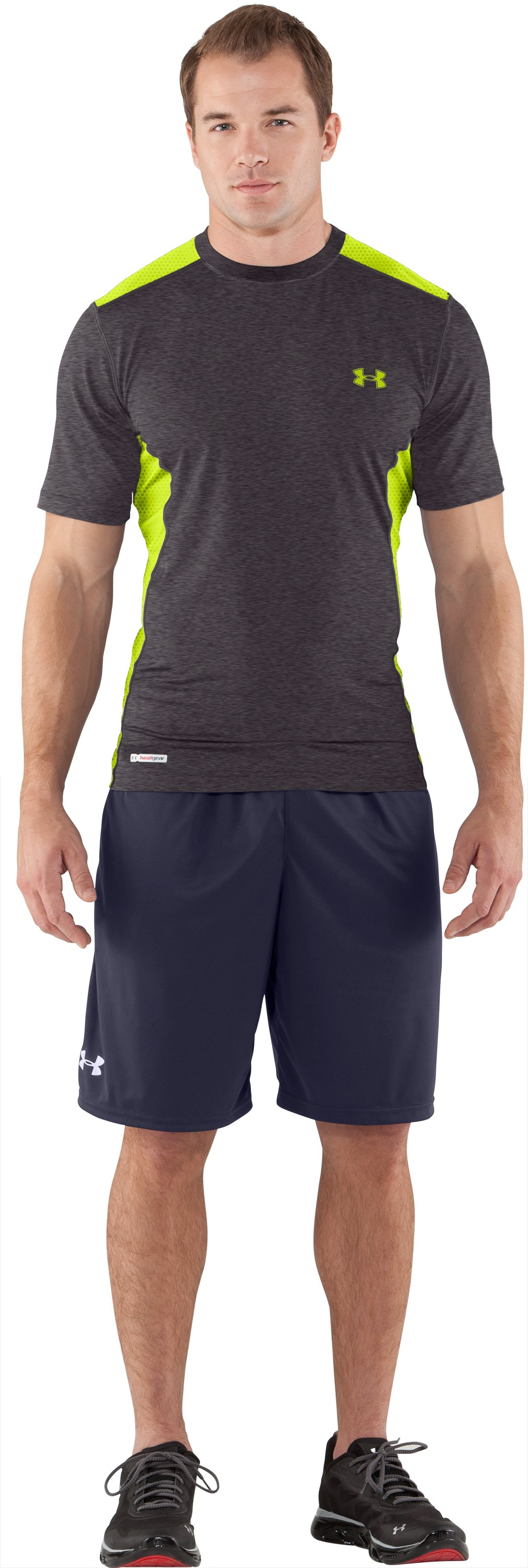 Men's HeatGear® Sonic Printed Fitted Short Sleeve, Carbon Heather, Front