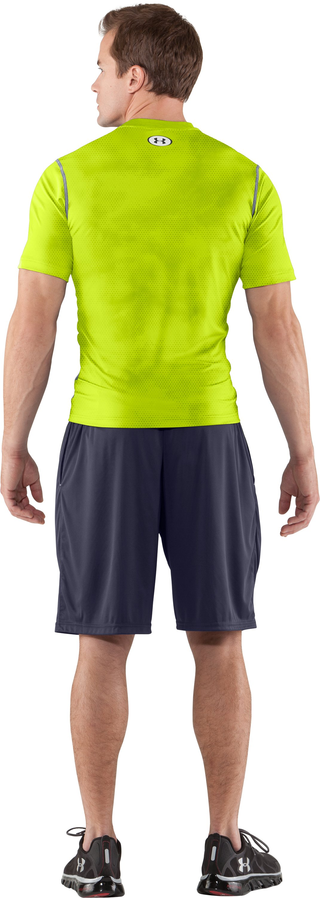 Men's HeatGear® Sonic Printed Fitted Short Sleeve, Velocity, Back
