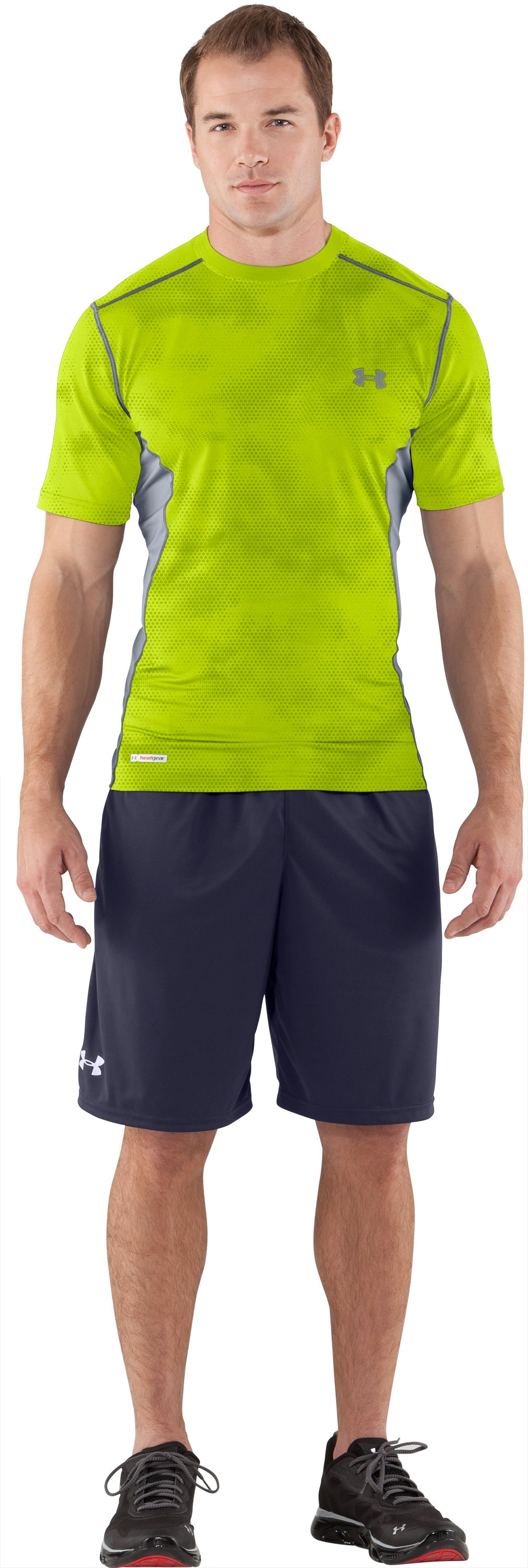 Men's HeatGear® Sonic Printed Fitted Short Sleeve, Velocity