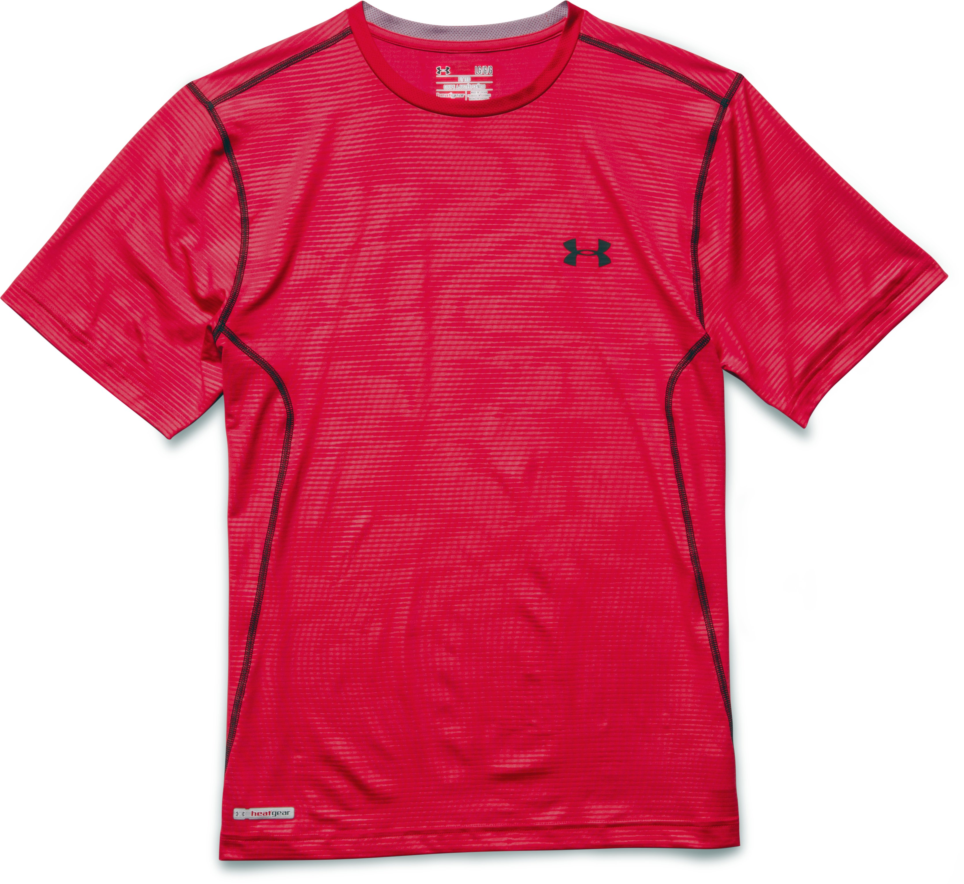 Men's HeatGear® Sonic Printed Fitted Short Sleeve, Red, Laydown
