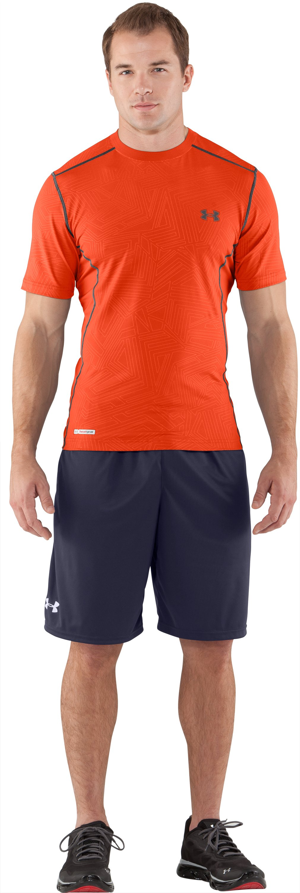 Men's HeatGear® Sonic Printed Fitted Short Sleeve, Explosive