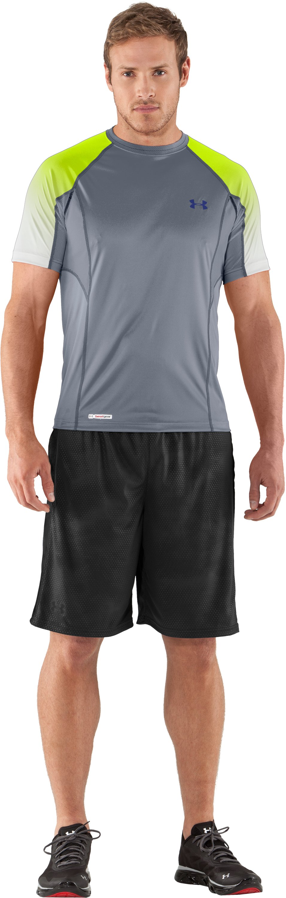 Men's HeatGear® Flyweight Printed Fitted Short Sleeve, Steel, Front