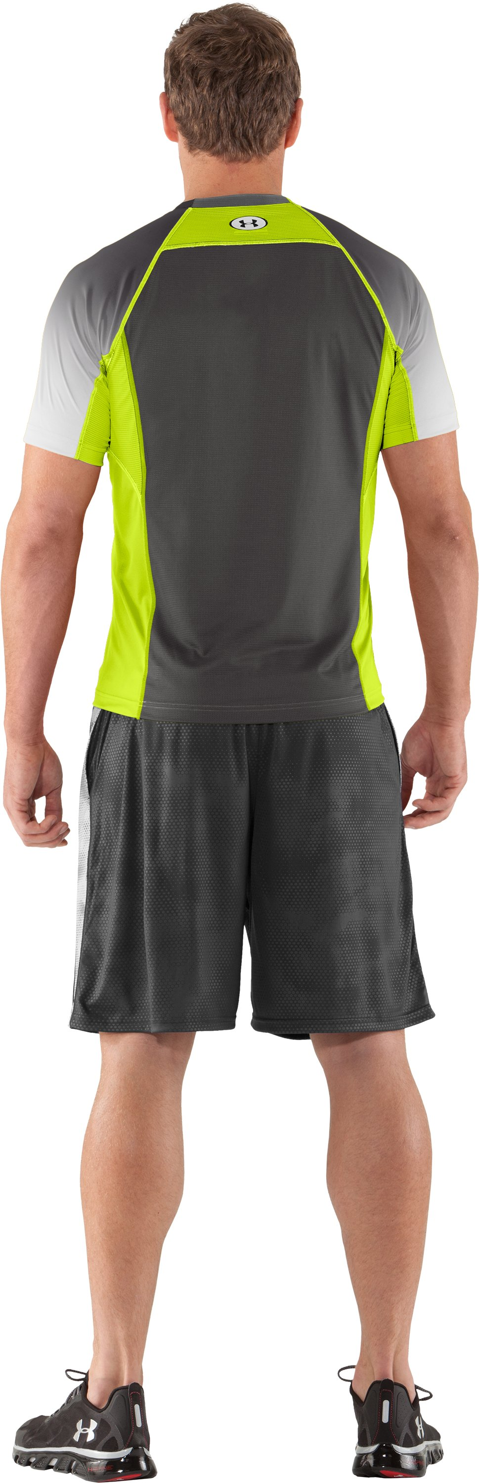 Men's HeatGear® Flyweight Printed Fitted Short Sleeve, Velocity, Back