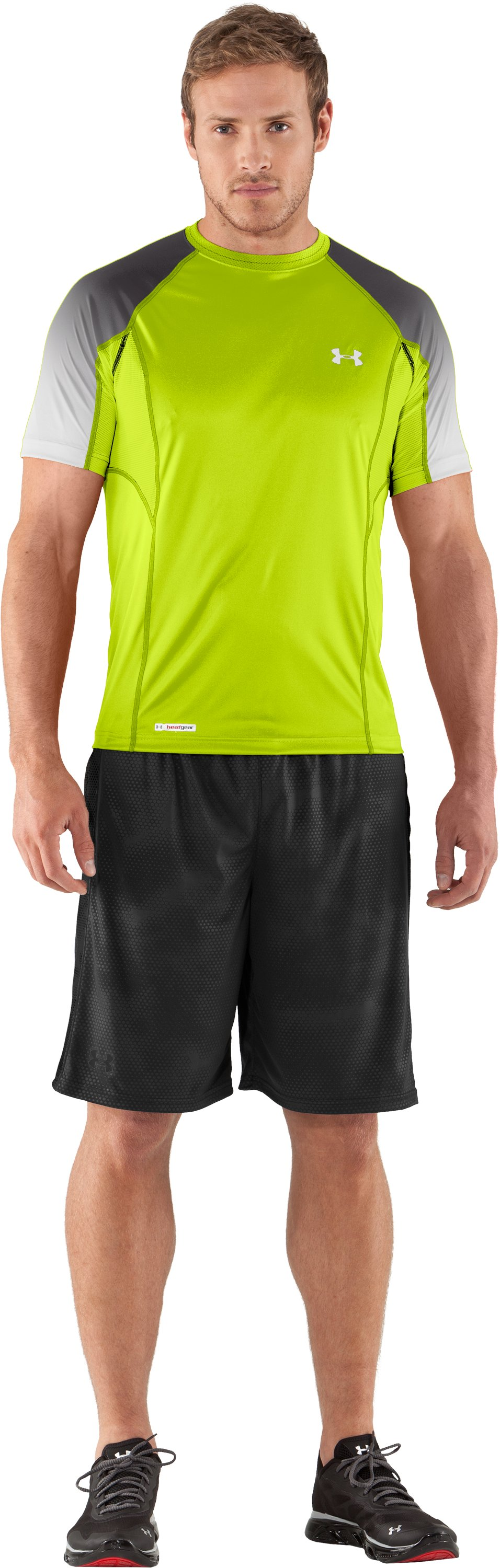 Men's HeatGear® Flyweight Printed Fitted Short Sleeve, Velocity, Front