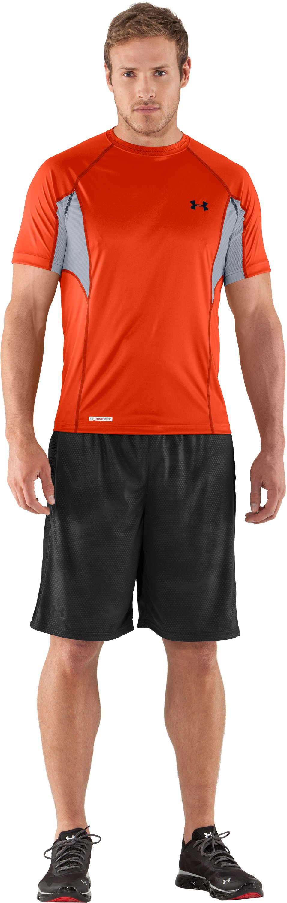 Men's HeatGear® Flyweight Printed Fitted Short Sleeve, Explosive