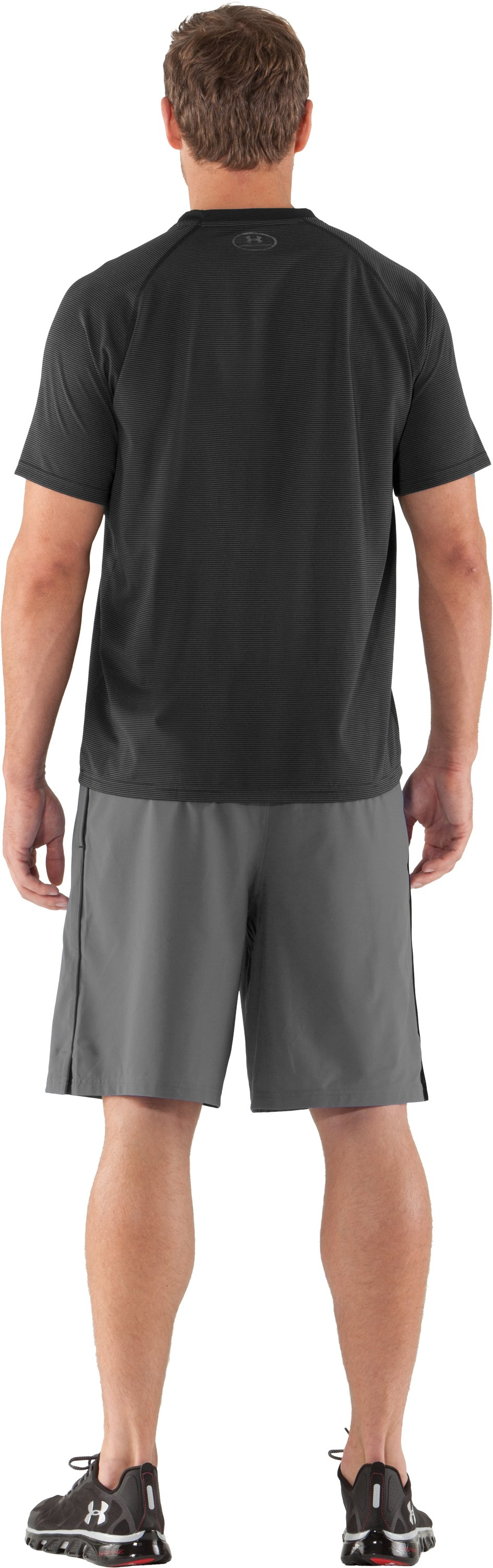 Men's UA Tech™ Microstripe T-Shirt, Black , Back
